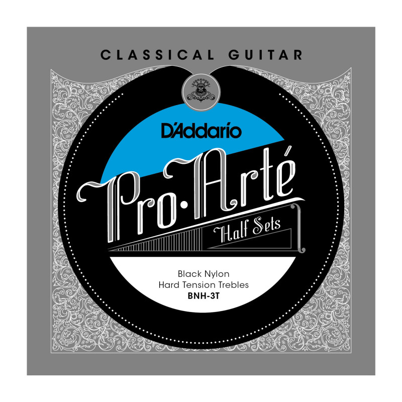 D'Addario BNH-3T Pro-Arte Black Nylon Classical Guitar Half Set, Hard Tension
