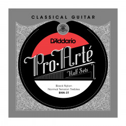 D'Addario BNN-3T Pro-Arte Black Nylon Classical Guitar Half Set, Normal Tension
