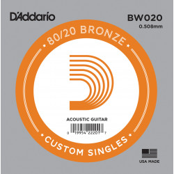 D'Addario BW020 Bronze Wound Acoustic Guitar Single String, .020