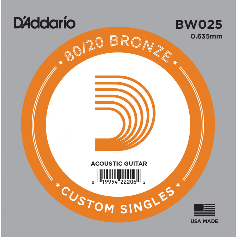 D'Addario BW025 Bronze Wound Acoustic Guitar Single String, .025
