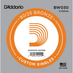 D'Addario BW030 Bronze Wound Acoustic Guitar Single String, .030