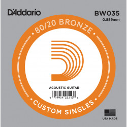 D'Addario BW035 Bronze Wound Acoustic Guitar Single String, .035