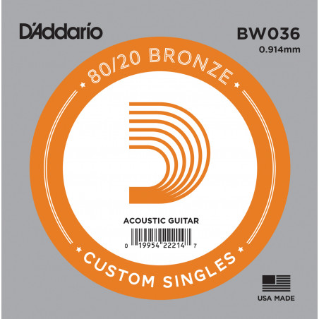 D'Addario BW036 Bronze Wound Acoustic Guitar Single String, .036