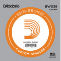 D'Addario BW039 Bronze Wound Acoustic Guitar Single String, .039