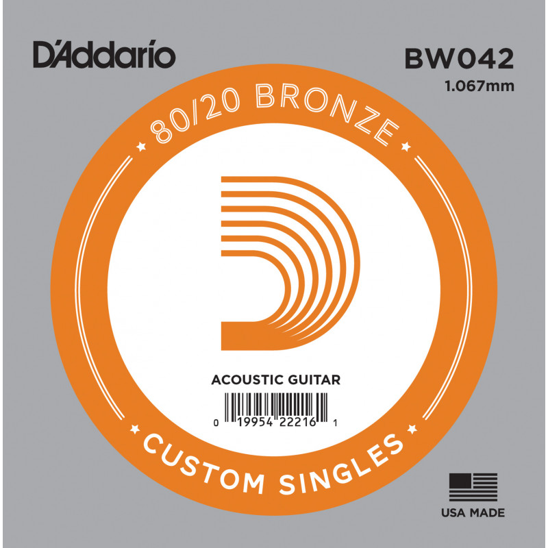D'Addario BW042 Bronze Wound Acoustic Guitar Single String, .042