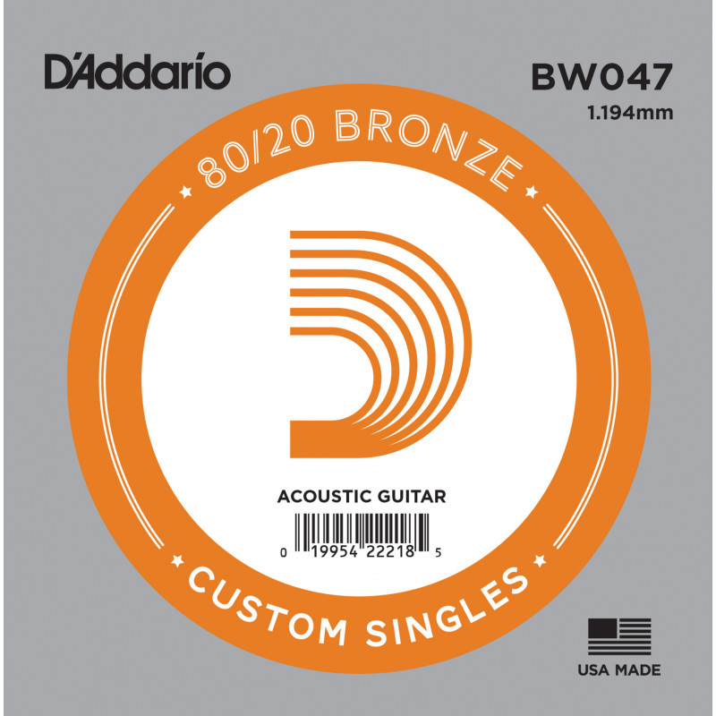 D'Addario BW047 Bronze Wound Acoustic Guitar Single String, .047