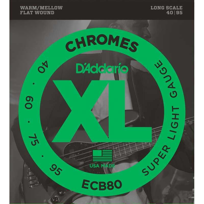 D'Addario ECB80 Bass Guitar Strings, Light, 40-95, Long Scale