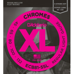 D'Addario ECB81-5SL 5-String Bass Guitar Strings, Light, 45-132, Super Long Scale