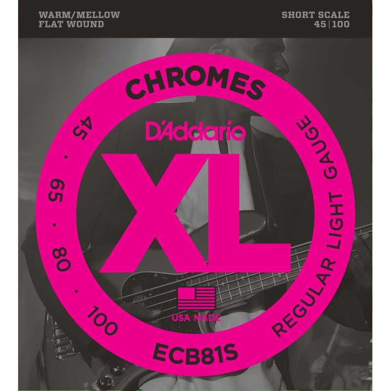 D'Addario ECB81S Chromes Bass Guitar Strings, Light, 45-100, Short Scale