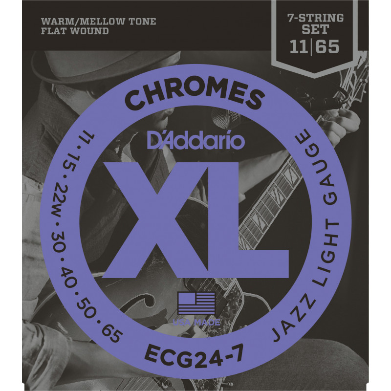 D'Addario ECG24-7 Chromes Flat Wound 7-String Electric Guitar Strings, Jazz Light, 11-65