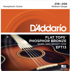 D'Addario EFT13 Flat Tops Phosphor Bronze Acoustic Guitar Strings, Resophonic Guitar, 16-56