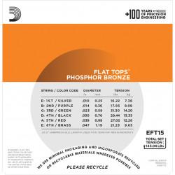 D'Addario EFT15 Flat Tops Phosphor Bronze Acoustic Guitar Strings, Extra Light, 10-47