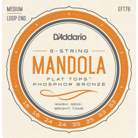 D'Addario EFT76 Flat Tops Mandola Strings, Medium, 16-53
