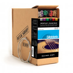 D'Addario EJ16-B25 Phosphor Bronze Acoustic Guitar Strings, Light, 25 Bulk Sets