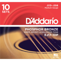 D'Addario EJ17-10P Phosphor Bronze Acoustic Guitar Strings, Medium, 13-56, 10 Sets