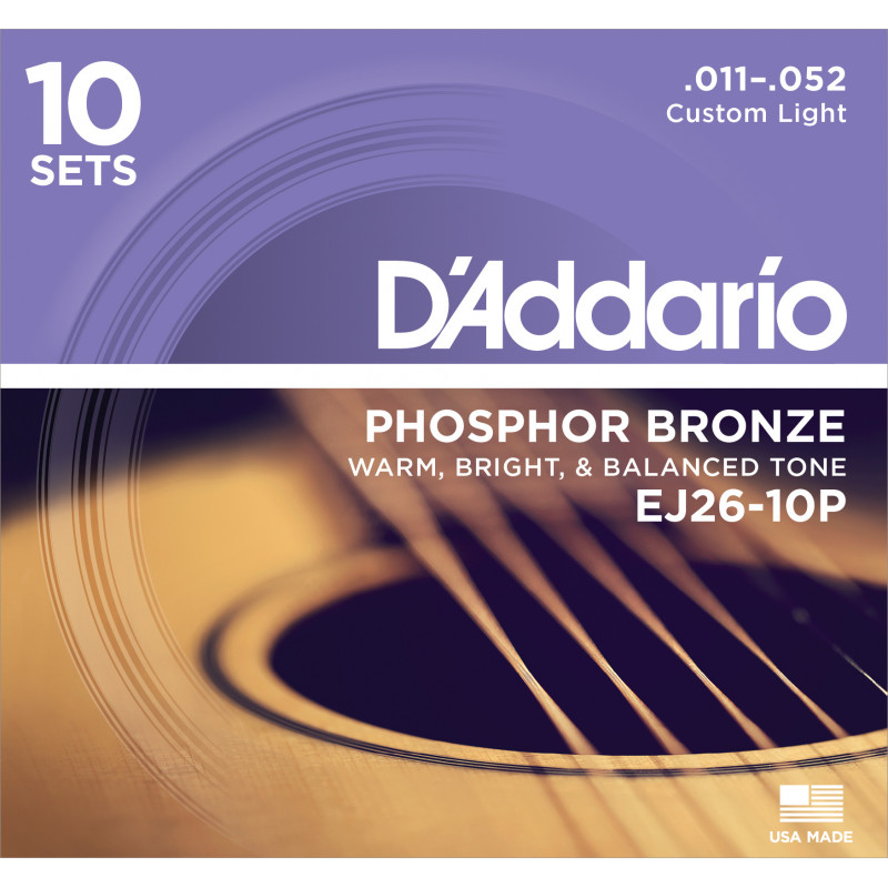 D'Addario EJ26-10P Phosphor Bronze Acoustic Guitar Strings, Custom Light, 11-52, 10 Sets