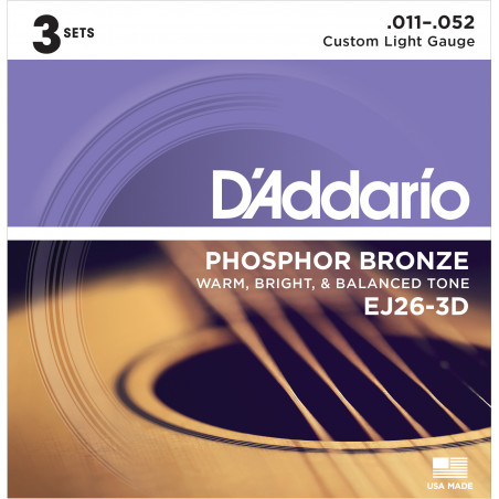 D'Addario EJ26-3D Phosphor Bronze Acoustic Guitar Strings, Custom Light, 11-52, 3 Sets