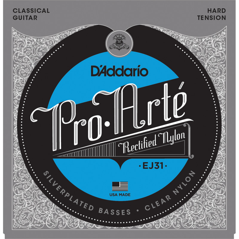 D'Addario EJ31 Classics Rectified Classical Guitar Strings, Hard Tension