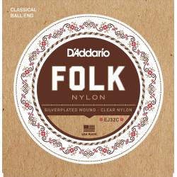 D'Addario EJ32C Folk Nylon Guitar Strings, Ball End, Silver Wound/Clear Nylon Trebles
