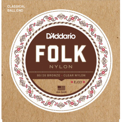 D'Addario EJ33 Folk Nylon Guitar Strings, Ball End, 80/20 Bronze/Clear Nylon Trebles