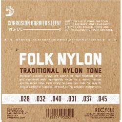 D'Addario EJ34 Folk Nylon Guitar Strings, Ball End, 80/20 Bronze/Black Nylon Trebles