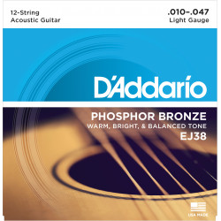 D'Addario EJ38 12-String Phosphor Bronze Acoustic Guitar Strings, Light, 10-47