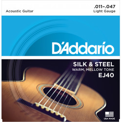 D'Addario EJ40 Silk & Steel Folk Guitar Strings, 11-47