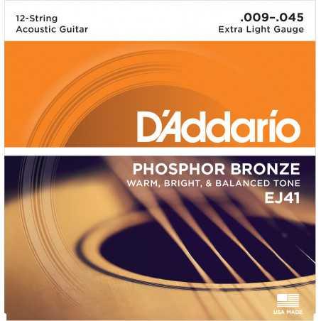 D'Addario EJ41 12-String Phosphor Bronze Acoustic Guitar Strings, Extra Light, 9-45