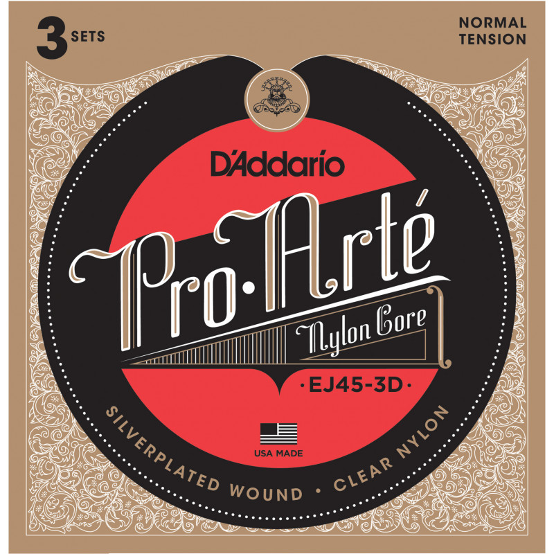 D'Addario EJ45-3D Pro-Arte Nylon Classical Guitar Strings, Normal Tension, 3 Sets