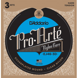 D'Addario EJ46-3D Pro-Arte Nylon Classical Guitar Strings, Hard Tension, 3 Sets