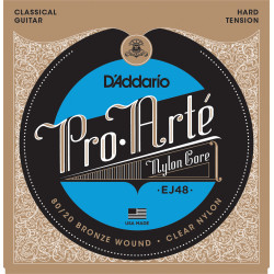 D'Addario EJ48 80/20 Bronze Pro-Arte Nylon Classical Guitar Strings, Hard Tension