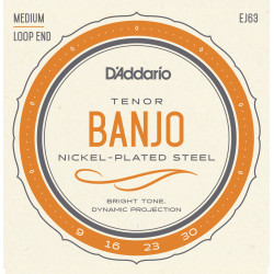 D'Addario EJ63 Tenor Banjo Strings, Nickel, 9-30