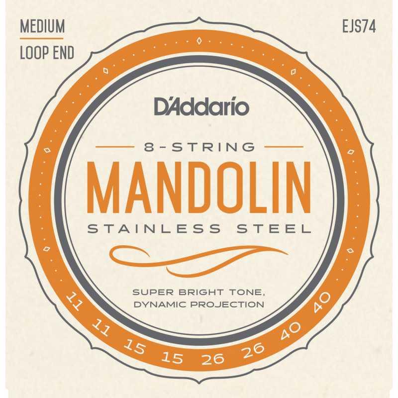 D'Addario EJS74 Mandolin Strings, Phosphor Bronze, Stainless Steel, 11-40