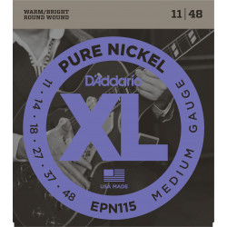 D'Addario EPN115 Pure Nickel Electric Guitar Strings, Blues/Jazz Rock, 11-48