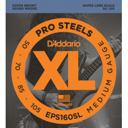 D'Addario EPS160SL ProSteels Bass Guitar Strings, Medium, 50-105, Super Long  Scale