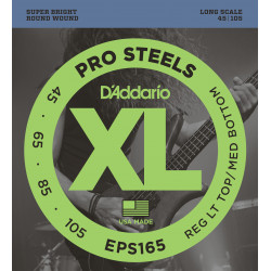 D'Addario EPS165 ProSteels Bass Guitar Strings, Custom Light, 45-105, Long Scale