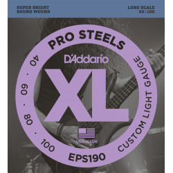 D'Addario EPS190 ProSteels Bass Guitar Strings, Custom Light, 40-100, Long Scale