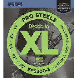 D'Addario EPS300-5 ProSteels 5-String Bass, Custom Light, 43-127, Long Scale
