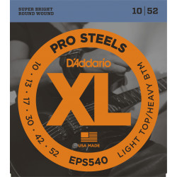 D'Addario EPS540 ProSteels Electric Guitar Strings, Light Top/Heavy Bottom, 10-52