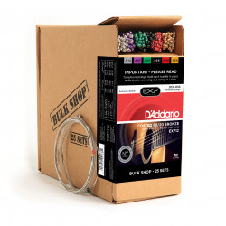 D'Addario EXP12 Coated 80/20 Bronze Acoustic Guitar Strings, Medium, 13-56, 25 Sets