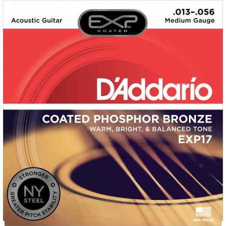 D'Addario EXP17 Coated Phosphor Acoustic Guitar Strings, Medium, 13-56