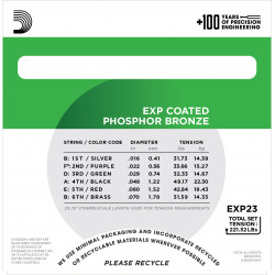 D'Addario EXP23 EXP Coated Baritone Guitar Strings, 16-70