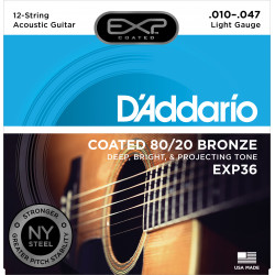 D'Addario EXP36 Coated 80/20 Bronze 12-String Acoustic Guitar Strings, Light, 10-47