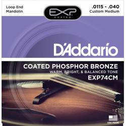 D'Addario EXP74CM Coated Phosphor Bronze Mandolin Strings, Custom Medium, 11.5-40