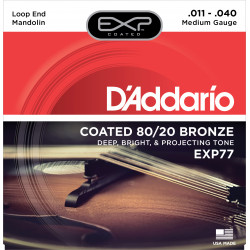 D'Addario EXP77 Coated 80/20 Bronze Mandolin Strings, Medium, 11-40