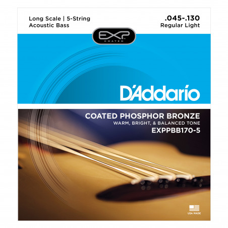 D'Addario EXPPBB170-5 Phosphor Bronze Coated 5-String Acoustic Bass Strings, Long Scale, 45-130