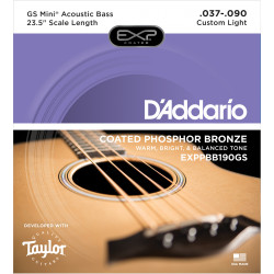 D'Addario EXPPBB190GS Phosphor Bronze Coated Acoustic Bass Strings, Taylor GS Mini Scale, 37-90