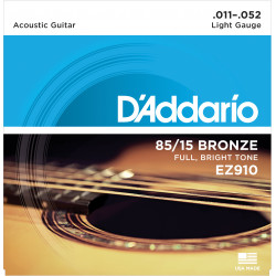 D'Addario EZ910 85/15 Bronze Acoustic Guitar Strings, Light, 11-52