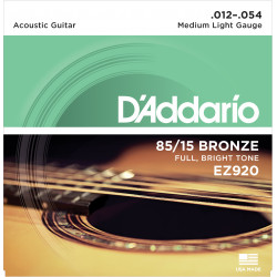 D'Addario EZ920 85/15 Bronze Acoustic Guitar Strings, Medium Light, 12-54
