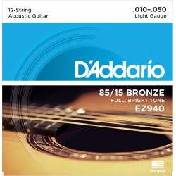 D'Addario EZ930 85/15 12-String Bronze Acoustic Guitar Strings, Light, 10-47